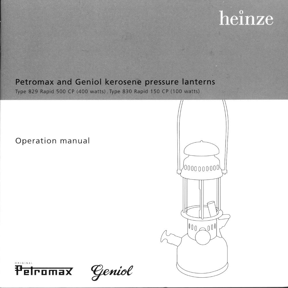 Petromax Instructions Title