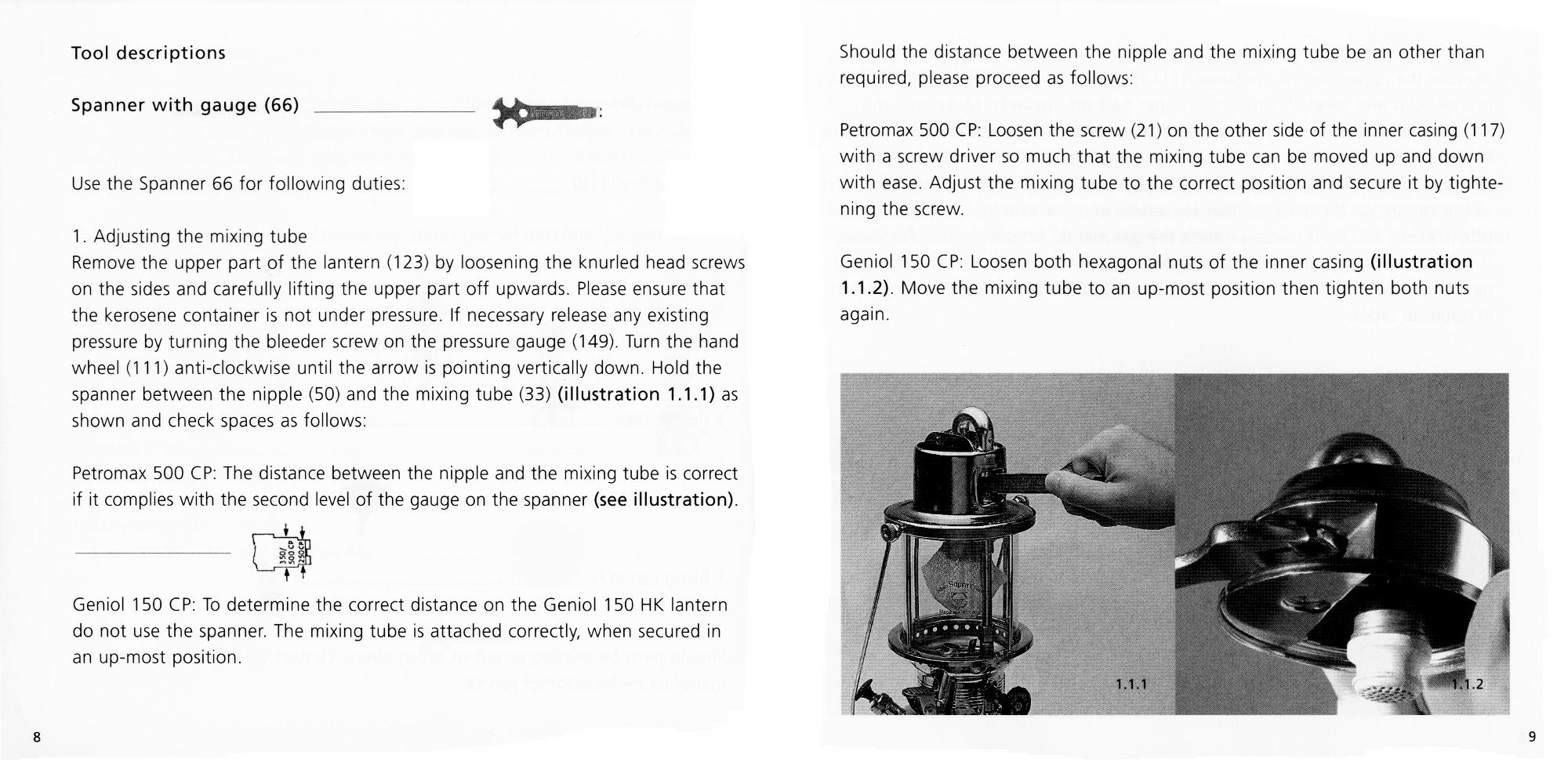 Petromax Instructions page 08 and 09