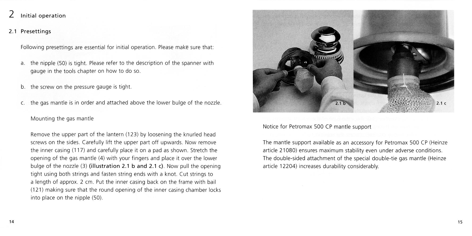 Petromax Instructions page 14 and 15