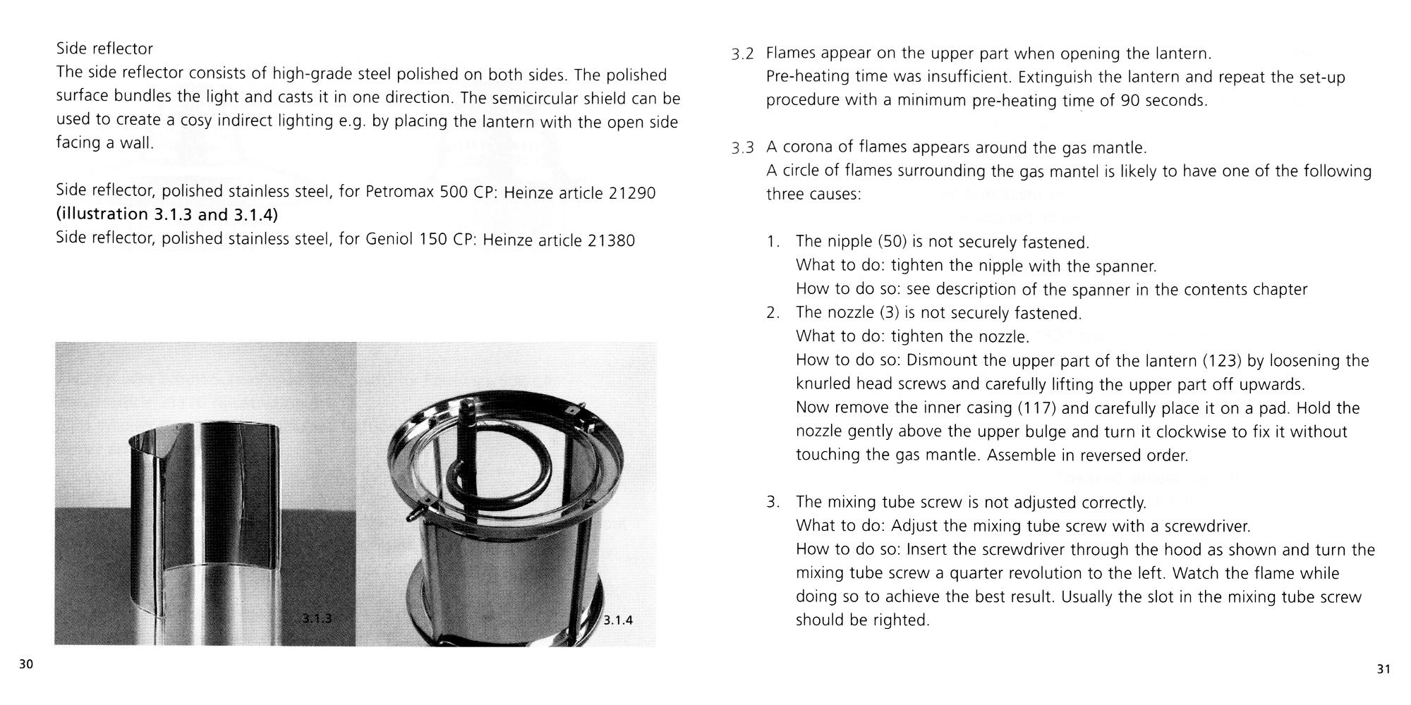Petromax Instructions page 30 and 31